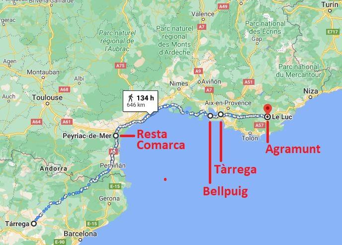 """Distàncies acumulades per municipis al recompte provisional de l'""""Urgell et repta!"""""""